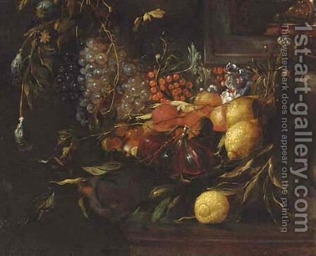 A swag of grapes, lemons, redcurrents, figs and peaches decorating a niche by (after) Jan Davidsz. De Heem - Reproduction Oil Painting
