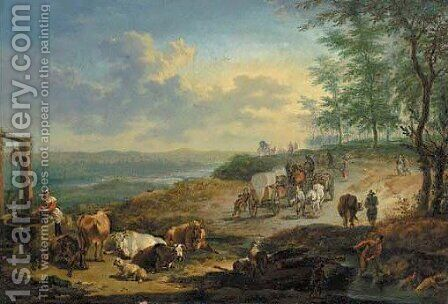 A broad landscape with travellers with wagons, cattle resting and a woman drawing water from a well by (after) Jan Frans Soolmaker - Reproduction Oil Painting