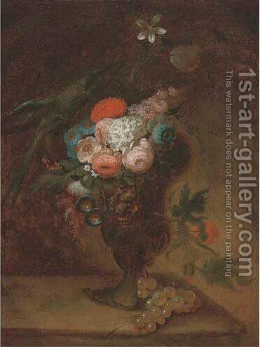 Flowers in an urn with a parrot by (after) Jan Frans Van Dael - Reproduction Oil Painting