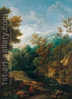 A Classical Landscape With Shepherds And Their Flock Beside A River, Said To Be A View Of The Fields Outside Vicovaro by (after) Jan Frans Van Orizzonte (see Bloemen) - Reproduction Oil Painting