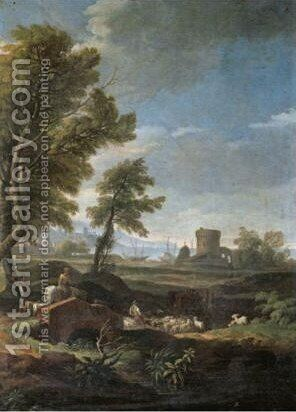 An Italianate Landscape With Drovers And Their Animals Crossing A Bridge, A Harour Beyond by (after) Jan Frans Van Orizzonte (see Bloemen) - Reproduction Oil Painting