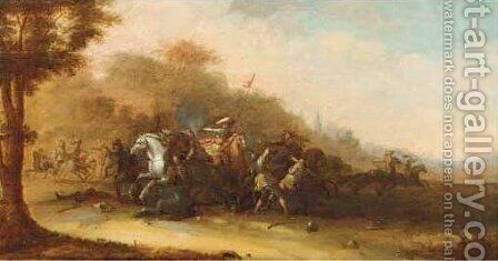 A cavalry skirmish in a wooded landscape, a church tower beyond by (after) Jan Jacobsz. Van Der Stoffe - Reproduction Oil Painting