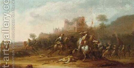 A cavalry skirmish before a ruin by (after) Jan Jacobsz. Van Der Stoffe - Reproduction Oil Painting