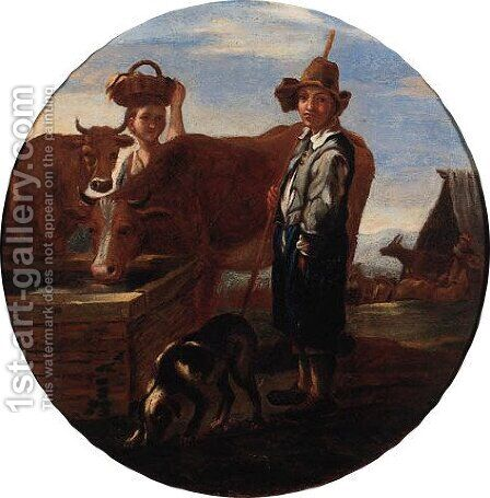 Shepherds resting in a landscape by (after) Jan Miel - Reproduction Oil Painting