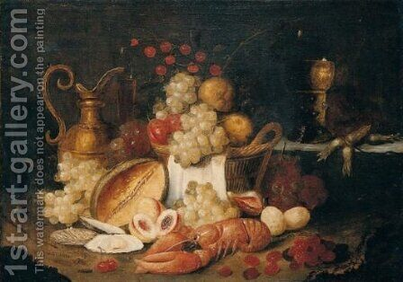 Still Life With A Lob, Grapes, A Melon, Cherries, Plums And A Brass Jug, Together With A Roemer by (after) Jan Pauwel The Elder Gillemans - Reproduction Oil Painting