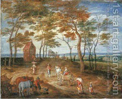 Rural landscape with peasants in horse-drawn carriages on a track 2 by (after) Jan The Elder Brueghel - Reproduction Oil Painting