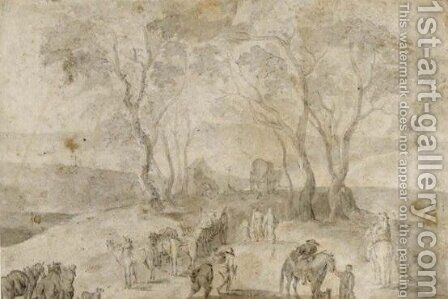 Travellers In A Landscape, Horsemen In The Foreground by (after) Jan The Elder Brueghel - Reproduction Oil Painting