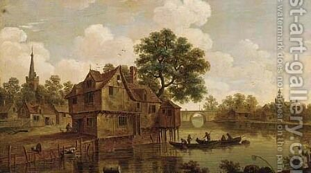 A river landscape with a town near a bridge, figures in ferryboats and a washerwoman in the foreground by (after) Jan Van Goyen - Reproduction Oil Painting
