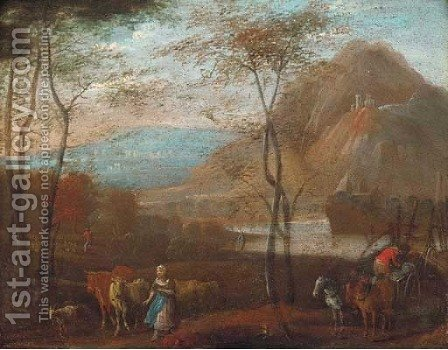 A river landscape with a wagonner and a cowherd by (after) Jan-Pieter Van Bredael - Reproduction Oil Painting