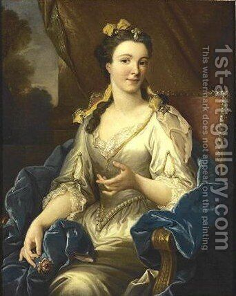 Portrait Of A Lady, Said To Be Antoinette Du Ligier De La Garde Deshoulieres by (after) Jean Francois De Troy - Reproduction Oil Painting
