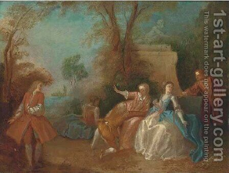 Elegant company in a wooded clearing by (after) Jean-Baptiste Joseph Pater - Reproduction Oil Painting