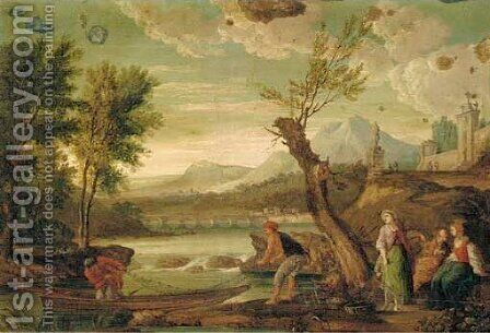 A river landscape with fisherfolk on the bank by (after) Jean-Baptiste Lallemand - Reproduction Oil Painting