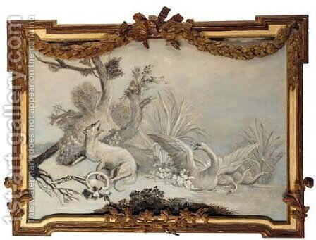 A fox caught in a snare with swans in a pond by (after) Jean-Baptiste Oudry - Reproduction Oil Painting