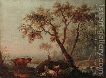 A shepherd on a river-bank with a cow, a goat and sheep by (after) Jean-Baptiste Pillement - Reproduction Oil Painting