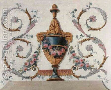 Trompe-l'oeil urns representing the Four Seasons 3 by (after) Jean-Baptiste Pillement - Reproduction Oil Painting