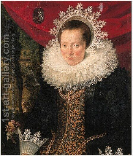 Portrait of a noblewoman by (after) Joachim Wtewael - Reproduction Oil Painting