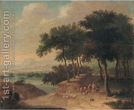 A wooded river landscape with a shepherd and shepherdess and their flock 2 by (after) Johann Christian Brand - Reproduction Oil Painting