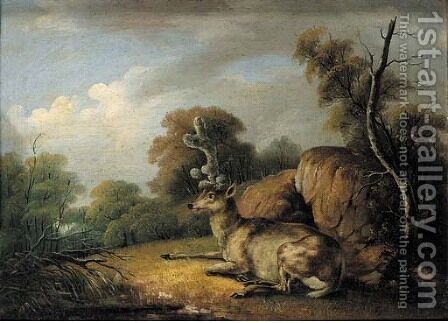 Deer resting in a wooded landscape by (after) Johann Elias Ridinger Or Riedinger - Reproduction Oil Painting