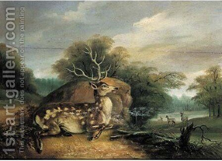 Deer resting in a wooded landscape 2 by (after) Johann Elias Ridinger Or Riedinger - Reproduction Oil Painting