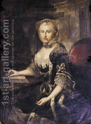 Portrait Von Augusta, Erbprinzessin Von  Braunschweig - Wolfenbuttel (1737-1813) by (after) Johann Georg Ziesenis - Reproduction Oil Painting