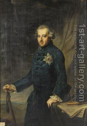 Portrait of Konig Friedrich II. Von Preussen by (after) Johann Georg Ziesenis - Reproduction Oil Painting