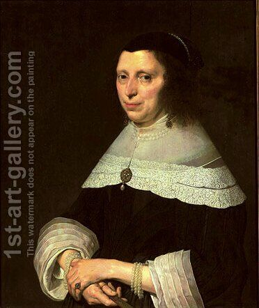 Portrait of a lady by (after) Johannes Cornelisz. Verspronck - Reproduction Oil Painting