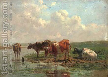 Cattle watering by (after) Johannes-Hubertus-Leonardus De Haas - Reproduction Oil Painting