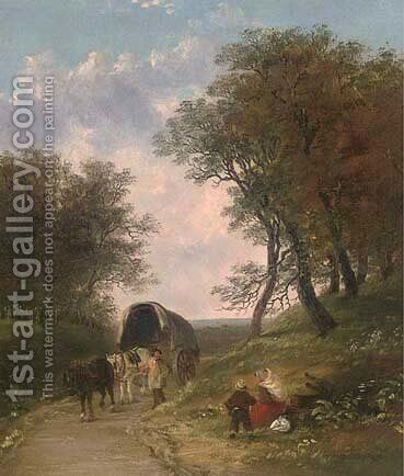 A rest by the wayside by (after) John Anthony Puller - Reproduction Oil Painting
