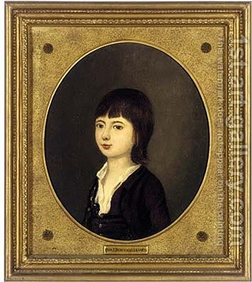 Portrait of a boy, small bust-length, in a brown coat by (after) John Downman - Reproduction Oil Painting