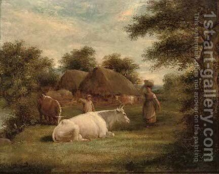 Herders grazing their cattle before a riverside barn by (after) John Linnell - Reproduction Oil Painting
