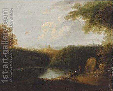 Figures resting by a lake in a wooded landscape by (after) John Rathbone - Reproduction Oil Painting