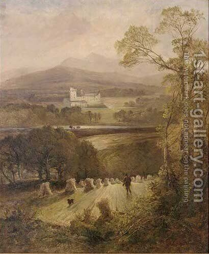 A gamekeeper and his dog with Balmoral Castle beyond by (after) Joseph Denovan Adam - Reproduction Oil Painting
