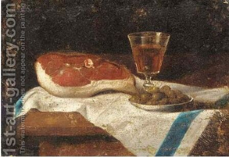 A piece of meat, a glass of wine and a plate of olives on a partly draped table by (after) Juan Van Der Hamen - Reproduction Oil Painting