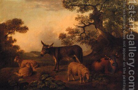 Sheep, a Donkey, and a Cow, resting in a Landscape by (after) Julius Caesar Ibbetson - Reproduction Oil Painting