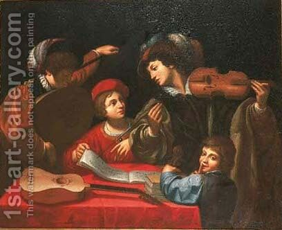 A musical party in an interior by (after) Lionello Spada - Reproduction Oil Painting