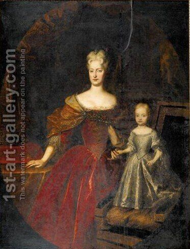 Portrait Of A Duchess And Her Child, Probably Elisabeth Christine Of Brunswick-Wolfenbuttel by (after) Louis De Silvestre - Reproduction Oil Painting