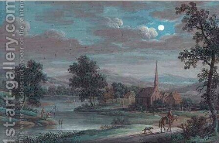 A river landscape by night with a traveller on a track, anglers and a church beyond by (after) Louis Nicolael Van Blarenberghe - Reproduction Oil Painting