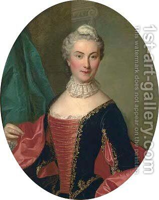 Portrait of a lady, half-length, in a gold-embroidered black and red dress by (after) Louis Tocque - Reproduction Oil Painting
