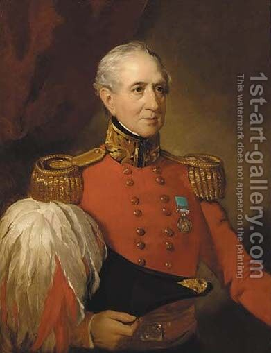 Portrait of a Major-General by (after) Lowes Cato Dickinson - Reproduction Oil Painting