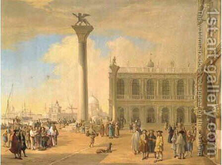 The Molo and the Piazza, Venice by (after) Luca Carlevarij - Reproduction Oil Painting