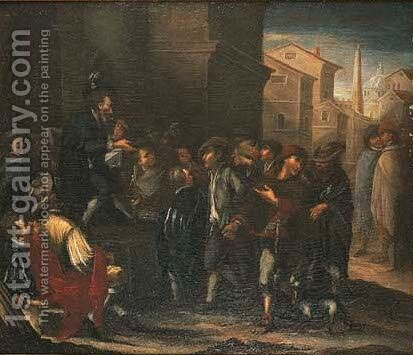 A charlatan performing in a town by (after) Lucas De Wael - Reproduction Oil Painting