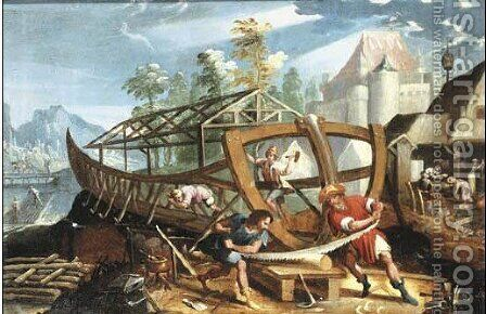 The Building of the Ark by (after) Lucas Gassel - Reproduction Oil Painting