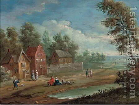 A wooded landscape with figures at rest on a track by a village by (after) Marc Baets - Reproduction Oil Painting