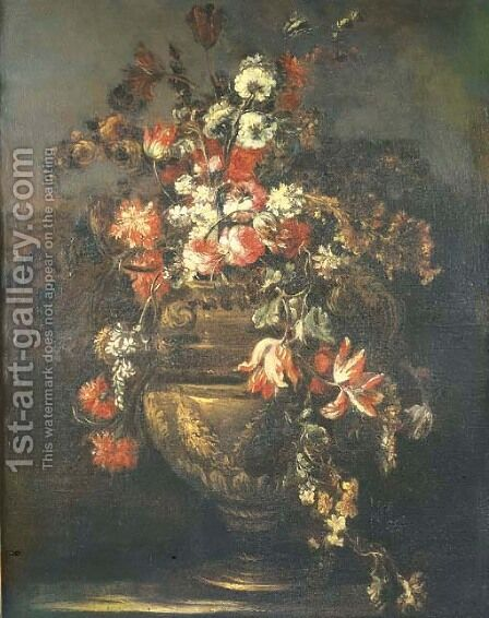 Roses, tulips, carnations and other flowers in sculpted vase by (after) Margherita Caffi - Reproduction Oil Painting