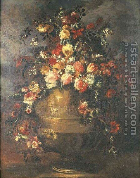 Roses, tulips, carnations and other flowers in sculpted vase 2 by (after) Margherita Caffi - Reproduction Oil Painting