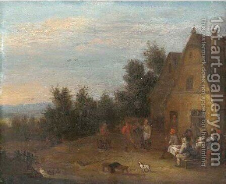 A landscape with peasants making merry outside a farmhouse by (after) Mathys Schoevaerdts - Reproduction Oil Painting
