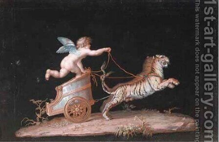 Pompeiian fresco depicting putti driving chariots drawn by tigers by (after) Michaelangelo Maestri - Reproduction Oil Painting