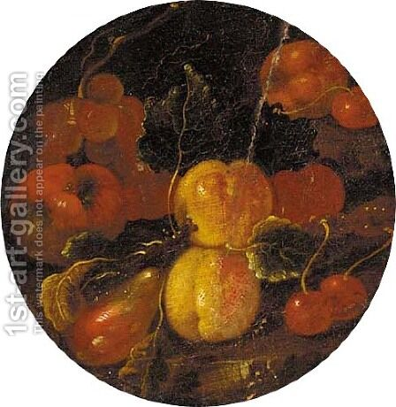 Apples, peaches, cherries, grapes and a pear on a ledge by (after) Michele Pace Del (Michelangelo Di) Campidoglio - Reproduction Oil Painting