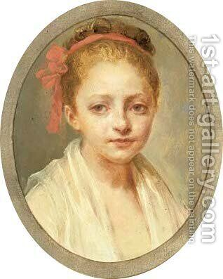 Portrait of a girl, bust-length, in a white chemise by (after) Nicolas-Bernard Lepicier - Reproduction Oil Painting