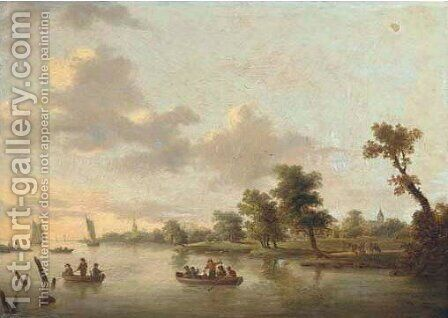 Anglers and merry-makers in boats on a river, villages beyond by (after) Norbert Joseph Carl Grund - Reproduction Oil Painting